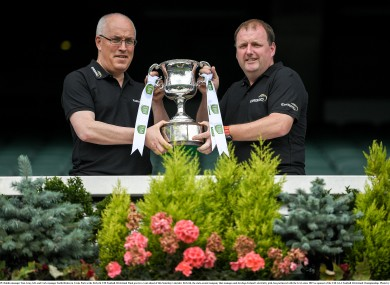 Dublin boss Tom Gray and Cork manager Keith Ricken at today's EirGrid All-Ireland U20 football media event.