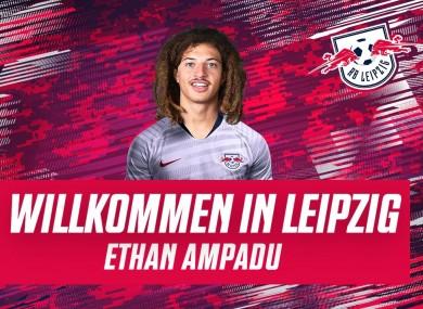 Ampadu in the RB Leipzig shirt.