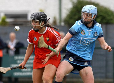 Dublin's Eve O'Brien and Linda Collins of Cork battle for the ball.
