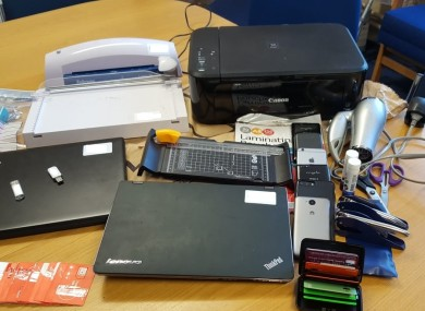 Equipment used in the suspected manufacture of fake passports