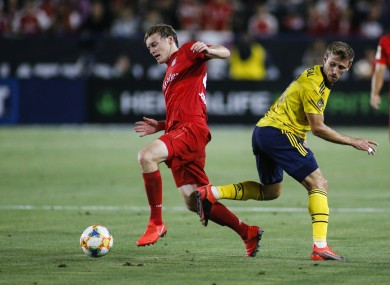 Ryan Johansson in action for Bayern against Arsenal.
