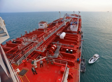 This photo, released on Sunday, shows the oil tanker Stena Impero near the Strait of Hormuz.