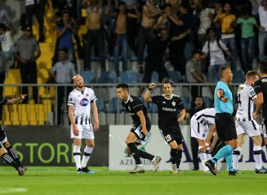 Qarabag's Jaime Romero Rodrigues celebrates scoring his sides first goal.
