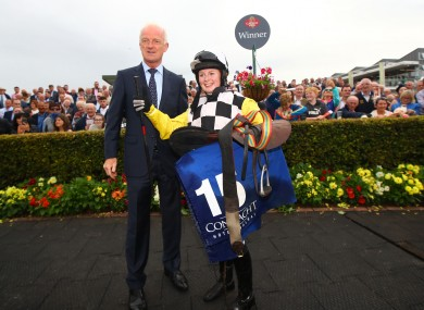 Jody Townend with Willie Mullins at Galway on Monday.
