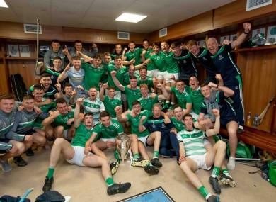 Limerick players celebrating yesterday's victory.