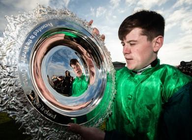 Luke Dempsey celebrates winning the Galway Plate.