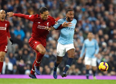Van Dijk and Sterling facing off last season.