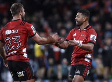 Crusaders Richie Mo'unga, right, in action last weekend.