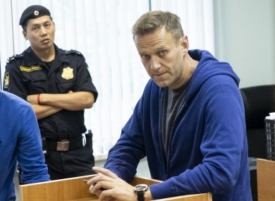 Alexei Navalny in a courtroom on 24 July 2019.