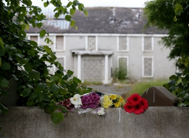 Flowers at the scene outside a deserted building in Lucan where Ana Kriegel was murdered last year.