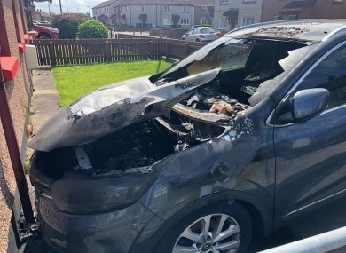 The damage caused to the Sinn Féin activist's car.