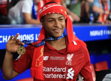 Liverpool's Rhian Brewster during the UEFA Champions League Final last season.