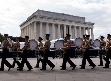 Military band practices ahead of Trump's speech.