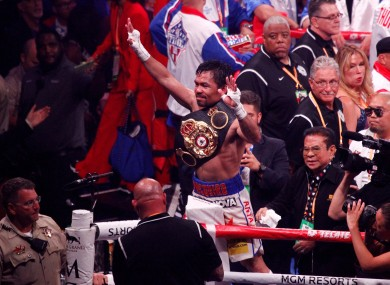 Manny Pacquiao celebrates his latest win.