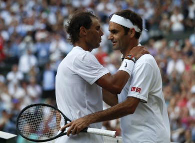 Nadal and Federer at Wimbledon on Friday.
