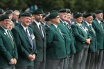 Veterans attend a drum head service in Wallace Park in Lisburn today.