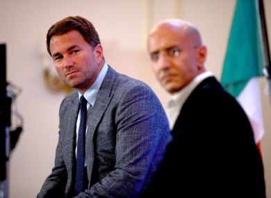 Eddie Hearn (left) during a press conference at The Savoy Hotel, London.