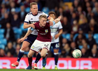 Jake Doyle-Hayes of Aston Villa tangling with Middlesbrough's Adam Forshaw during a Carabao Cup fixture in September 2017.