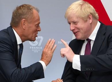 Donald Tusk and Boris Johnson speak at the weekend.