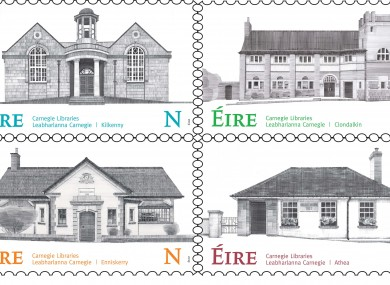 The stamps commemorating Ireland's Carnegie libraries.