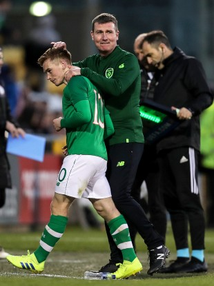 Ireland U21 manager Stephen Kenny with Connor Ronan during the win against Luxembourg back in March.