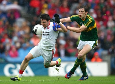 David Moran and Matthew Donnelly in opposition in Croke Park in 2015.