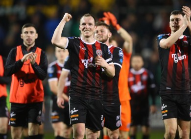 Derek Pender celebrates with his Bohs team-mates.