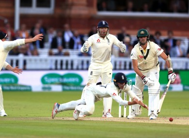 Rory Burnes let Pat Cummins' shot slip agonisingly through his fingers as England chased a dramatic win.