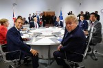 France's President Emmanuel Macron and US President Donald Trump at the G7 Summit in Biarritz, France.