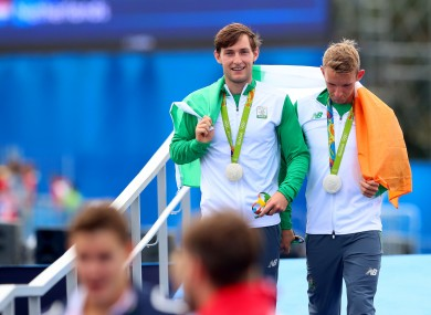 Rowers Paul and Gary O'Donovan celebrate after their silver medal win at Rio 2016.