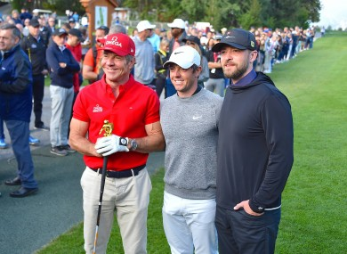 Dennis Quaid, Rory McIlroy and Justin Timberlake pictured at the European Maters.