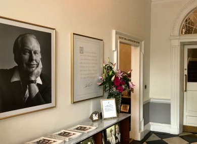 A photograph of L Ron Hubbard hangs in the hall of the Church of Scientology's Merrion Square office.