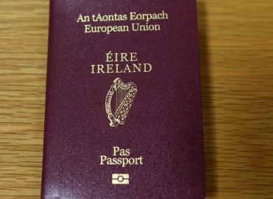File photo of an Irish passport.