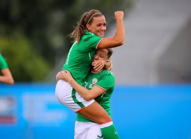 Ireland captain Katie McCabe with Harriet Scott.