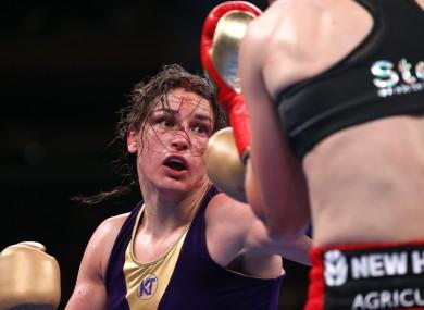 Katie Taylor in action against Delfine Persoon last June.