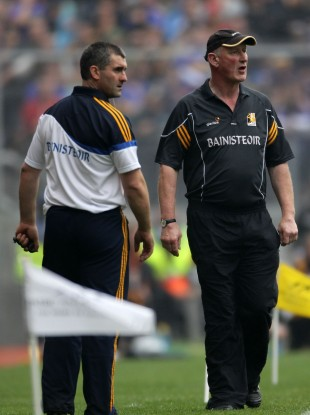 Liam Sheedy and Brian Cody patrol the sideline during the 2010 All-Ireland final.