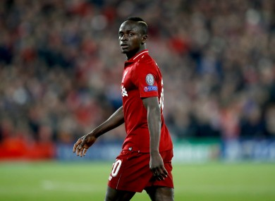 Sadio Mane, who is line for an early return against Norwich tomorrow night.