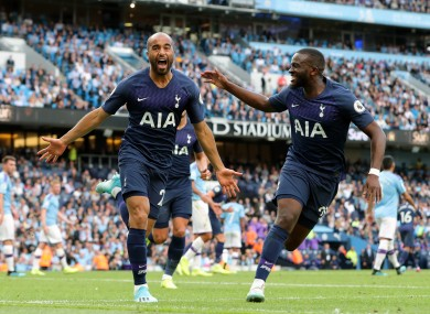 Lucas Moura celebrates his goal.