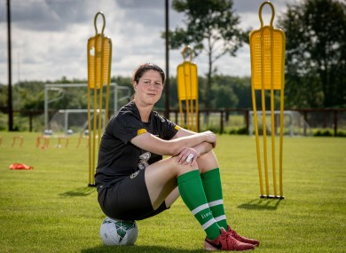 Ireland goalkeeper Marie Hourihan at WNT training this morning.