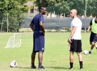 Balotelli training as a free agent in Brescia earlier this summer.