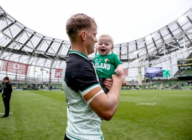 Haley with his son Frank post-match.