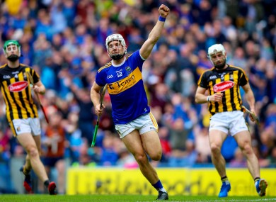 Niall O'Meara celebrates scoring Tipperary's first goal of the game.