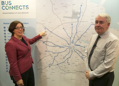 NTA CEO Anne Graham and deputy CEO Hugh Creegan explaining aspects of the BusConnects plan