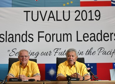 Australia's Prime Minister Scott Morrison and Tuvalu's Prime Minister Enele Sopoaga at a press conference during the Pacific Islands Forum.