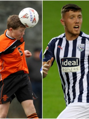 Dara O'Shea in action for St Kevin's Boys in 2012 (L) and for West Brom in 2019 (R).