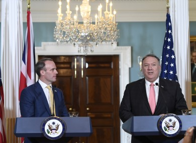 Britain's Foreign Secretary Dominic Raab and US Secretary of State Mike Pompeo