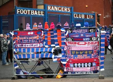 Merchandise stalls outside the stadium.