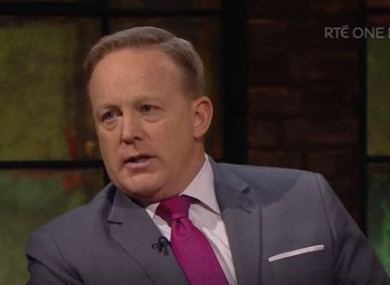 Sean Spicer on the Late Late Show in 2018.