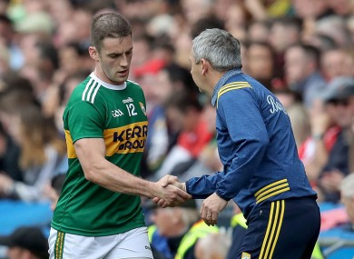Kerry forward Stephen O'Brien with manager Peter Keane.