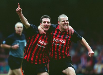 Tony O'Connor (left) celebrates his winning goal for Bohemians with Stephen Caffrey in the 2001 FAI Cup final.